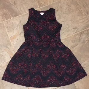 Navy and Red Patterned Dress